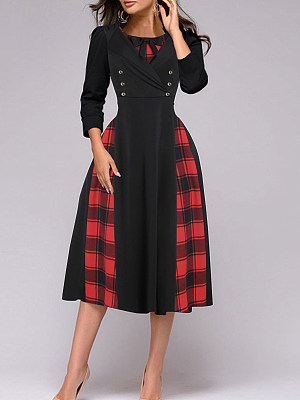 Round Neck Double Breasted Plaid Skater Dress фото
