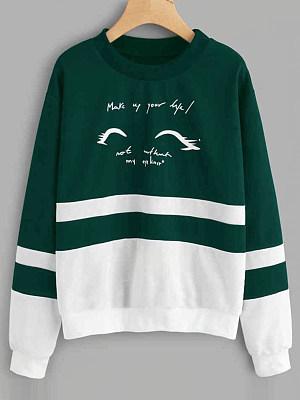 Round Neck Animal Printed Color Block Long Sleeve Sweatshirts