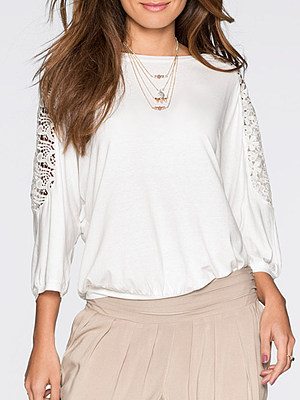 Round Neck Loose Fitting Lace Short Sleeve T-Shirts