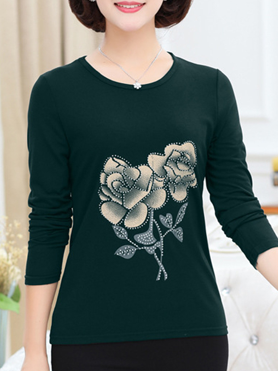 Round Neck  Floral Long Sleeve T-Shirts