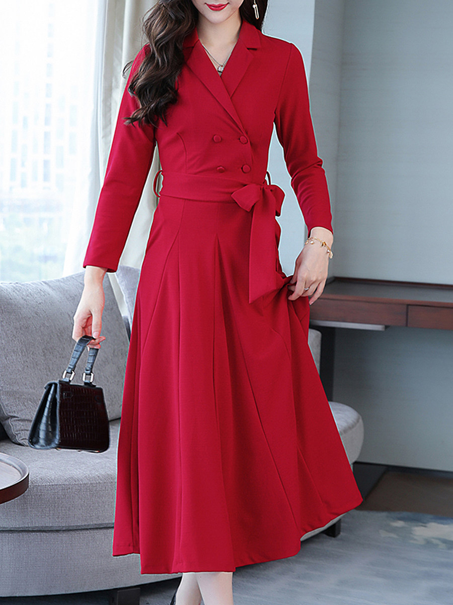 Fold Over Collar Double Breasted Plain Maxi Dress