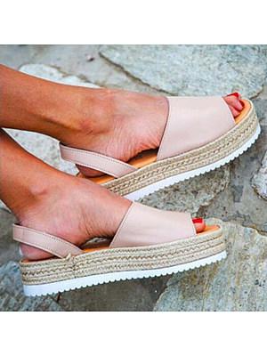 Plain Low Heeled Velvet Ankle Strap Peep Toe Casual Platform Sandals, 4897067