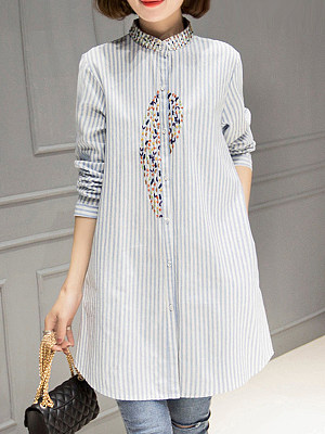 Band Collar Loose Fitting Embroidery Blouses, 6272241