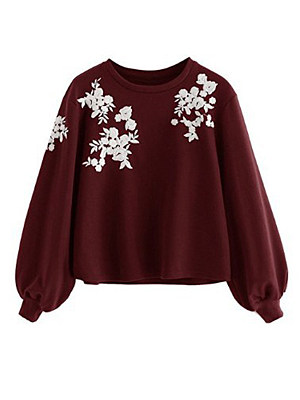 Round Neck Loose Fitting Embroidery Lantern Sleeve Long Sleeve T-Shirts