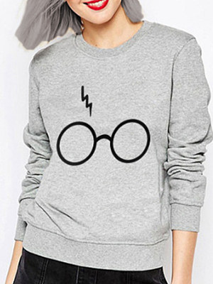 Casual  Plain Printed  Long Sleeve Sweatshirt