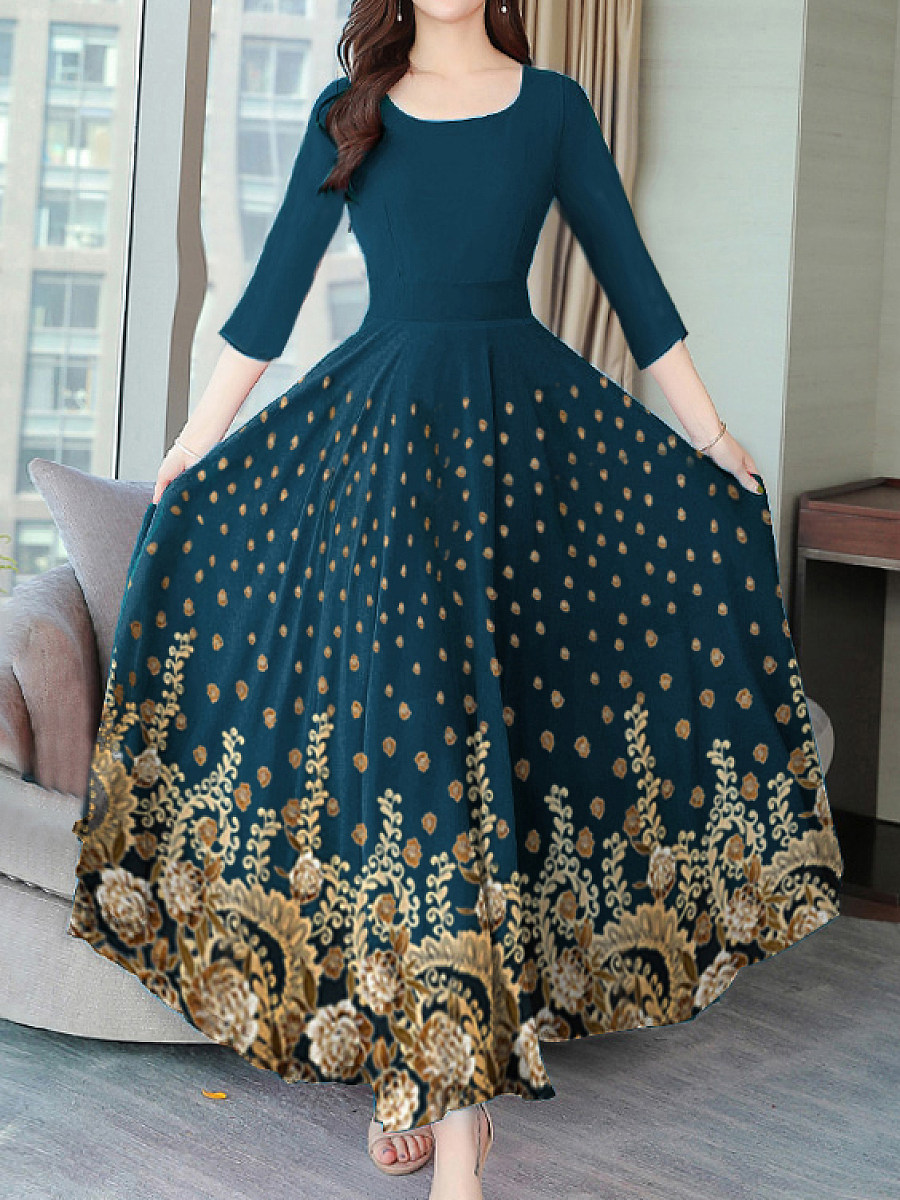 Autumn And Winter Vintage Print Dress Maxi Dress