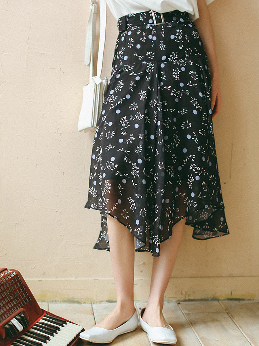 Asymmetric Hem Belt Printed Flared Chiffon Midi Skirt