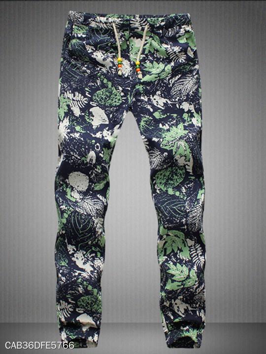 Tropical Printed Drawstring Men S Casual Pants Berrylook Com