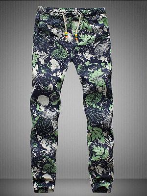 Tropical Printed Drawstring Men\'s Casual Pants