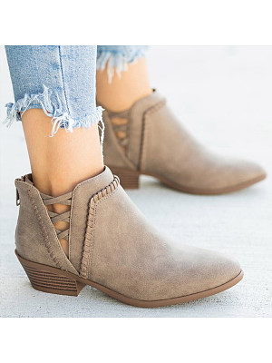 Plain Chunky Low Heeled Point Toe Casual Ankle Boots, 8505989