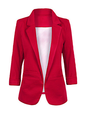 Narrow Notch Lapel Plain Three-Quarter Sleeve Blazers фото