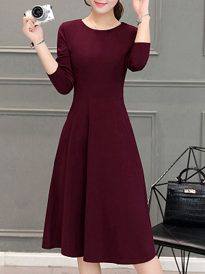 Round Neck Plain Skater Dress, 8510276