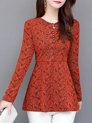 Round Neck Elegant Floral Long Sleeve T-Shirt, 9474534