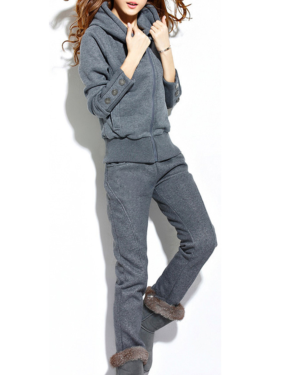 Active  Decorative Button  Plain  Long Sleeve Hoodie Suit
