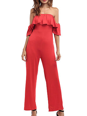05661a85cad Off Shoulder Backless Tiered Plain Bootcut Jumpsuits