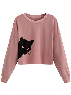 Casual  Plain  Shoulder Sleeve  Long Sleeve Sweatshirt