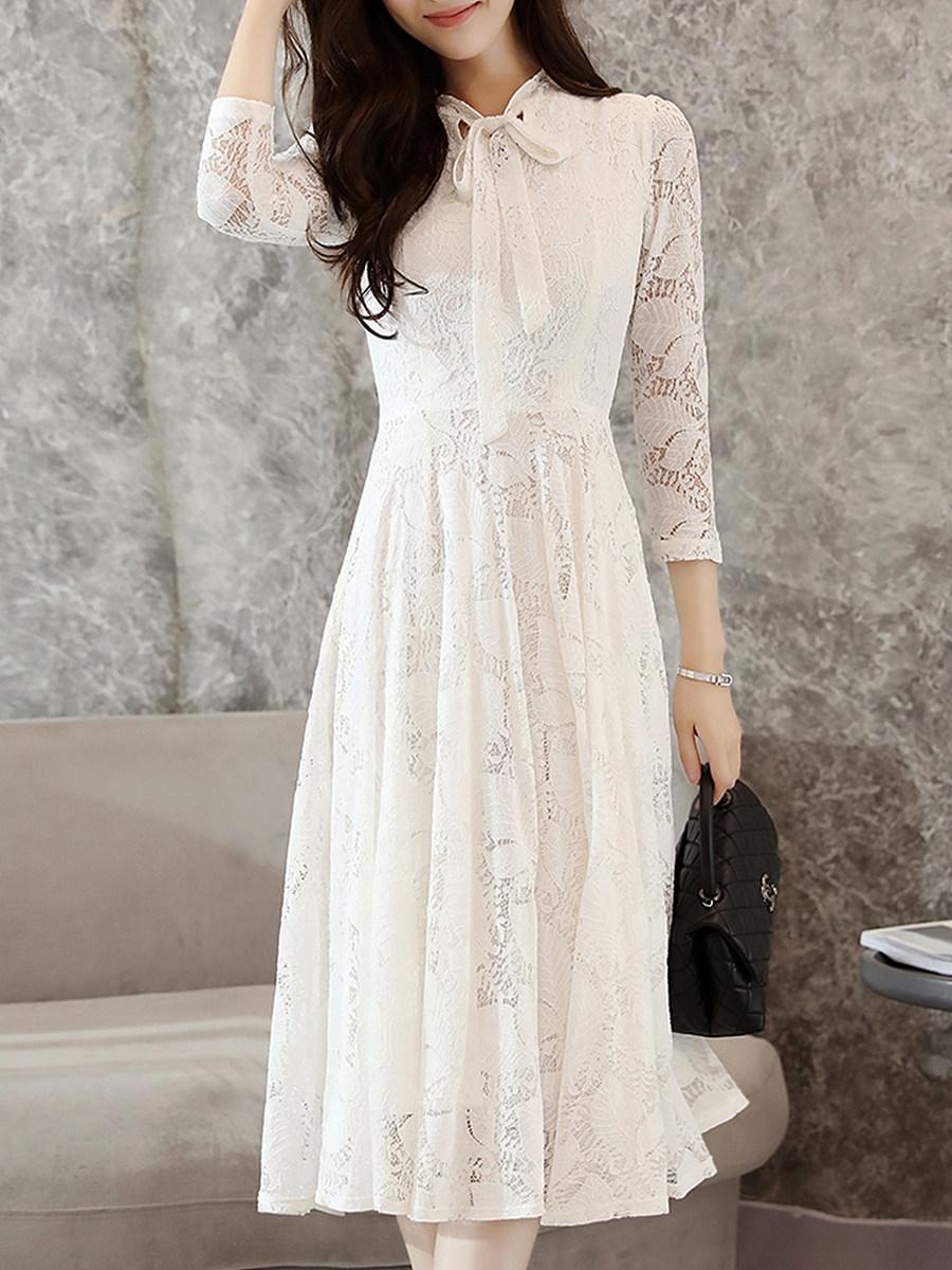 Tie Collar Cutout Decorative Lace Lace Plain Maxi Dress