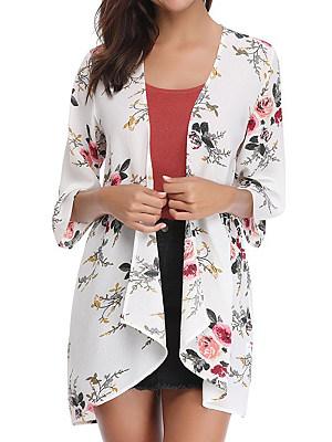 Patchwork Elegant Printed Three-Quarter Sleeve Cardigans, 8226429