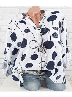 Band Collar Loose Fitting Dot Blouses