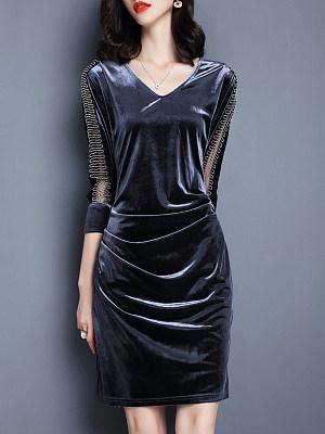V Neck  Patchwork Bodycon Dress