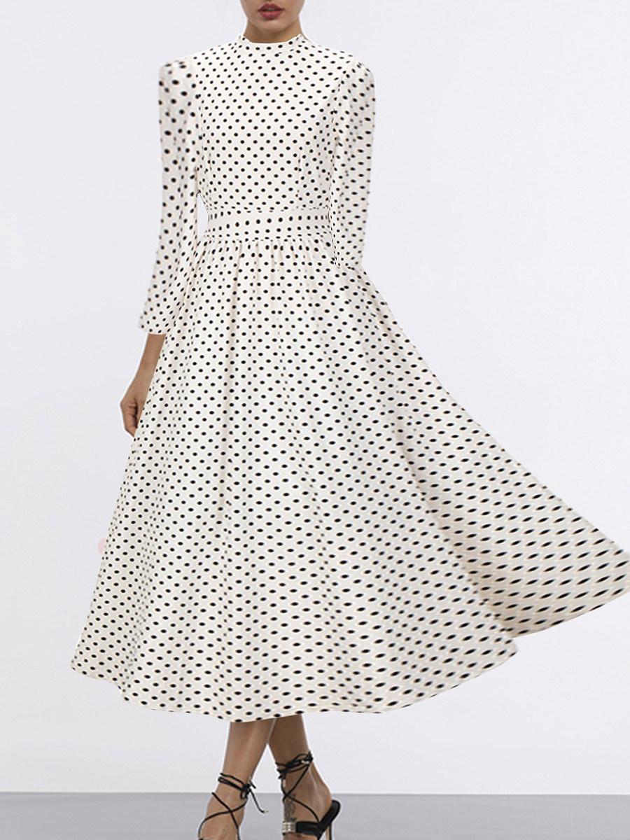 High Neck Polka Dot Maxi Dress