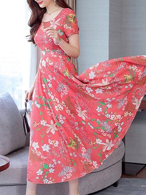 Berrylook coupon: Date Round Neck  Printed Maxi Dress