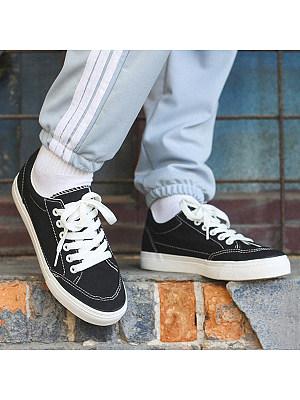 Plain Flat Criss Cross Round Toe Casual Sneakers