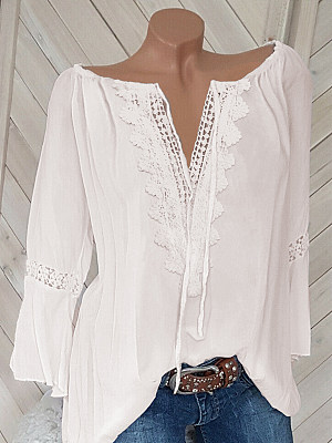 V Neck Loose Fitting Patchwork Lace Plain Blouses фото