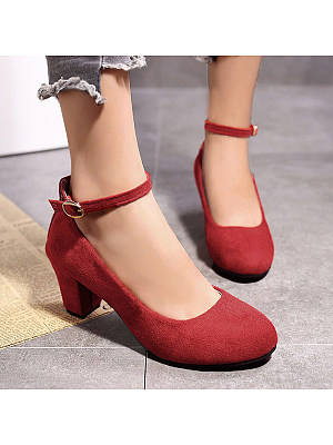 Plain  Chunky  Mid Heeled  Velvet  Ankle Strap  Round Toe  Date Office Pumps