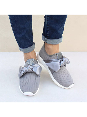 Plain Flat Round Toe Casual Sneakers, 6030049