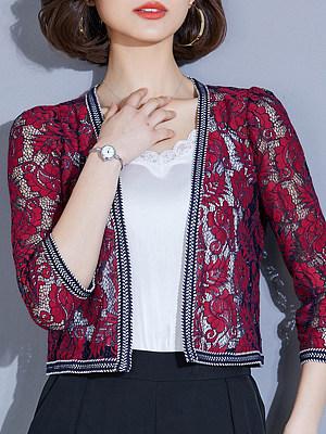 Patchwork Elegant Lace Three-Quarter Sleeve Cardigan, 8407193
