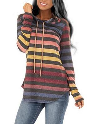 Hooded  Asymmetric Hem  Gradient Striped Hoodie