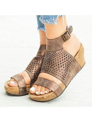 Plain Peep Toe Date Travel Wedge Sandals, 6986008