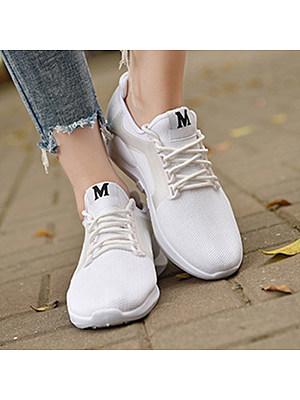 Plain Flat Criss Cross Round Toe Casual Sneakers, 4892152