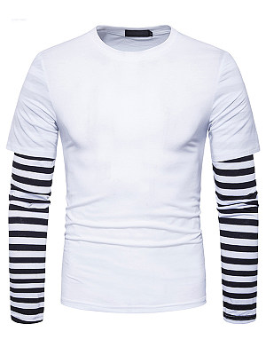 Men Striped Round Neck Fake Two-Piece T-Shirt