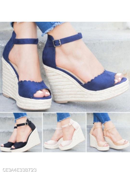 Plain High Heeled Velvet Ankle Strap Peep Toe Casual Wedge