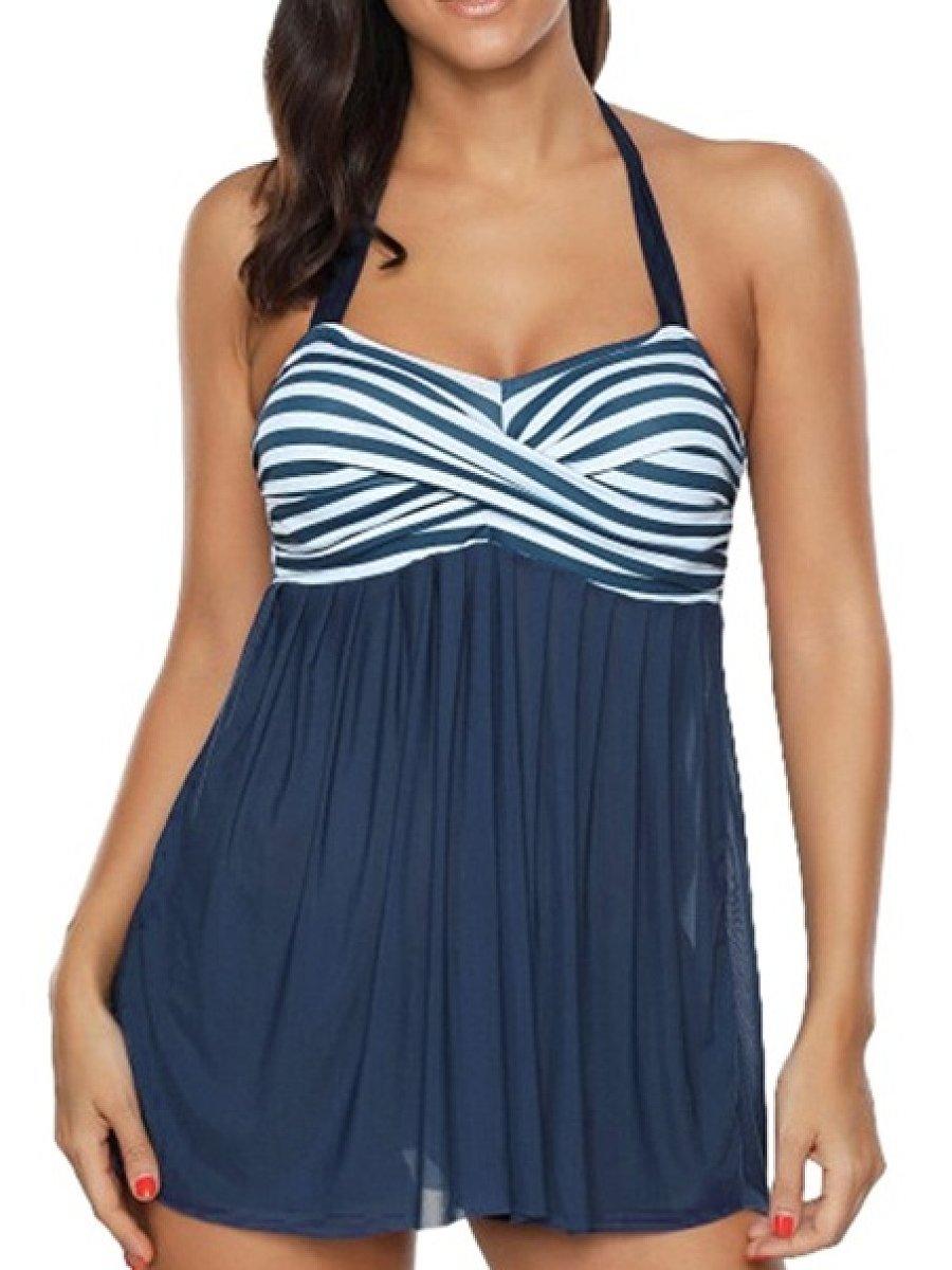 Halter  Plain Striped  Mid-Rise Swimwear