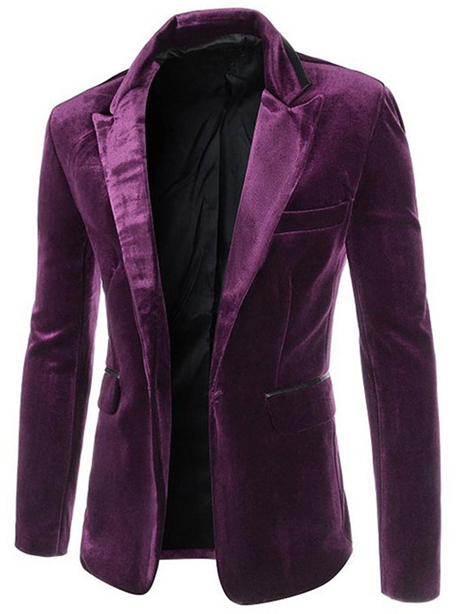 Men Plain Velvet Notch Lapel Single Button Blazer