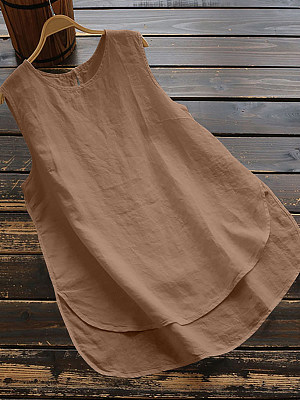Round Neck Loose Fitting Plain Sleeveless T-Shirts, 6920377