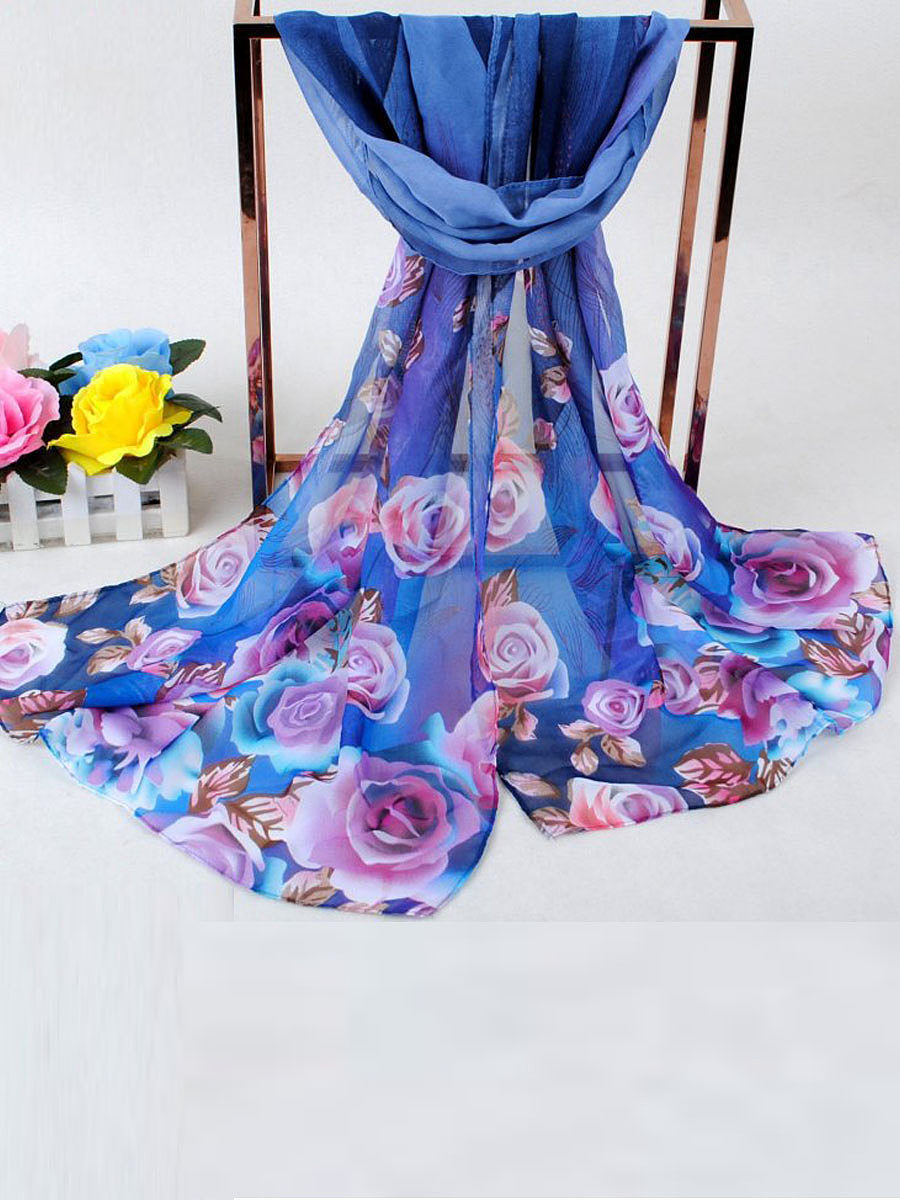 Peacock And Rose  Printed Chiffon Scarf