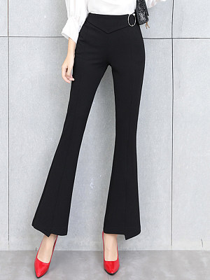 Fitted Plain Pocket Flared Pants фото