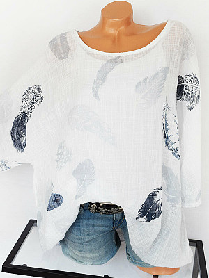 Round Neck Patchwork Feather Blouses, 6903554