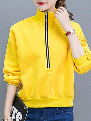 Casual Plain Long Sleeve Hoodies & Sweatshirts фото