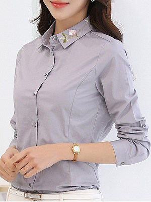 Turn Down Collar Single Breasted Embroidery Blouses
