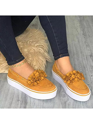 Plain Round Toe Casual Travel Sneakers, 7389560
