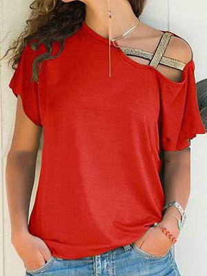 Summer  Cotton  Women  Open Shoulder  Plain Short Sleeve T-Shirts