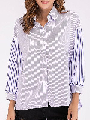 Autumn Spring Women Single Breasted Striped Long Sleeve Blouses