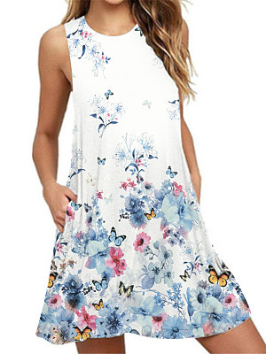 Round Neck Basic Beach Printed Shift Dress фото