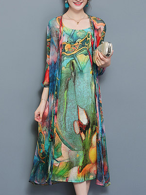 Multi-Color Printed Side Slit Two-Piece Maxi Dress
