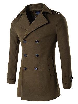 Men Lapel Plain Double Breasted Pocket Woolen Coat, 3903975